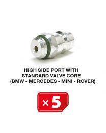Nippel Hochdruckseite mit Standardventil  (BMW-Mercedes-Mini-Rover) (5 St.)